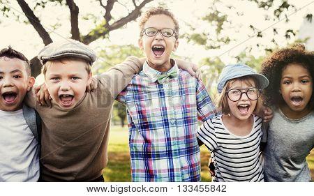 Modern Hipster Children Outdoors Concept