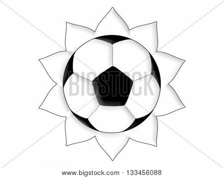 Soccer ball in the form of the sun
