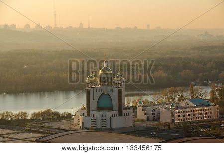 Sunset City Center In Kiev, Ukraine