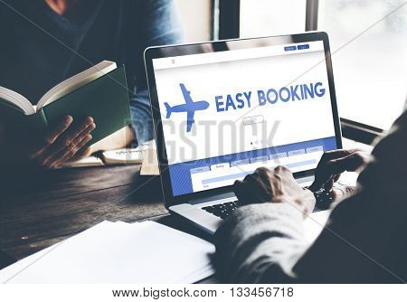 Easy Booking Holiday Flight Tourism Concept