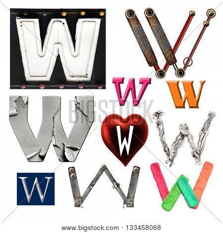 Collection alphabet. Letter W