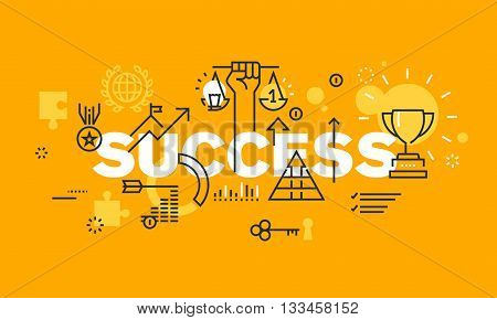 Thin line flat design banner for success web page, information about awards for the quality of products and services, new product development, sports results, economic and social activities. Modern vector illustration concept of word SUCCESS for website a