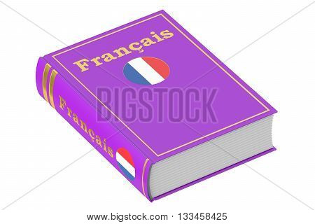 French language textbook 3D rendering isolated on white background