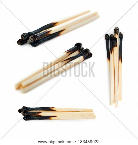 Set of Pile of Wooden used burnt matches isolated over the white background