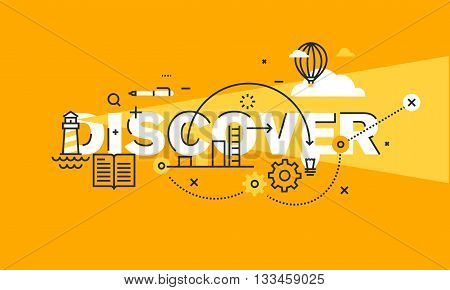 Thin line flat design banner for DISCOVER web page, new solutions, technology, knowledge and science. Modern vector illustration concept of word DISCOVER for website and mobile website banners.