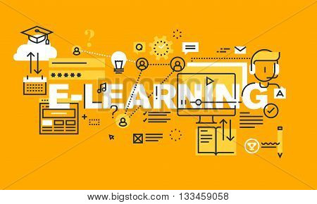 Thin line flat design banner for E-LEARNING web page, distance education, online training and courses. Modern vector illustration concept of word E-LEARNING for website and mobile website banners. poster
