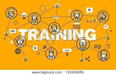 Thin line flat design banner for TRAINING web page, online education, courses, networking, video tutorials, staff training. Modern vector illustration concept of word TRAINING for website and mobile website banners.