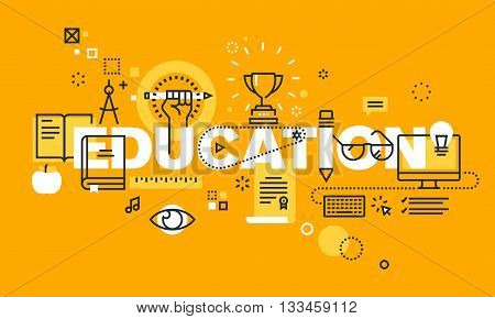 Thin line flat design banner for EDUCATION web page, classical and on-line education, increasing knowledge, choice of universities. Modern vector illustration concept of word EDUCATION for website and mobile website banners.