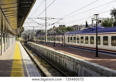 IZMIR TURKEY - APRIL 30 2016: Interior view of IZBAN Alsancak Train Station in Izmir. IZBAN sometimes referred to as Egeray is a commuter rail system serving Izmir Turkey.
