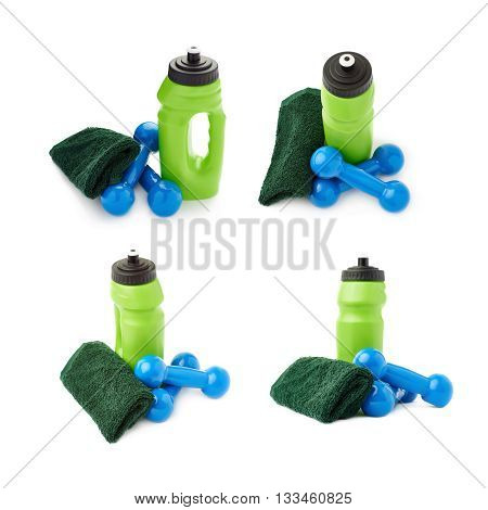 Set of Pair Blue Plastic coated dumbells, green water bottle and  towel isolated over the white background