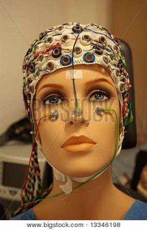 A Beautiful Woman Manikin With Eeg Hat