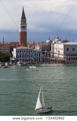 Sailing on Venice Lagoon, Piazza San Marco in the background