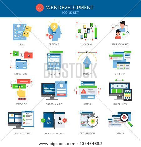 Sixteen web development icon set with descriptions of idea creative concept user scenarios structure prototype designs and different vector illustration