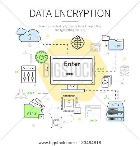 Datacenter colored illustration with arrows specialized tools and headline data encryption on the top vector illustration