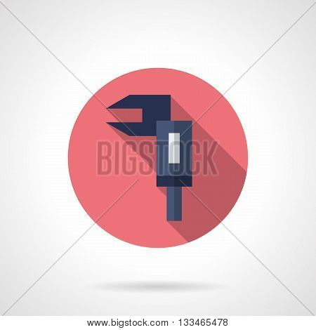 Classical blue sliding calliper gauge with long shadow. Mechanic measuring tools and instruments. Round flat color style vector icon.