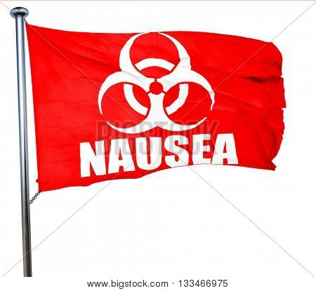 Nausea concept background, 3D rendering, a red waving flag
