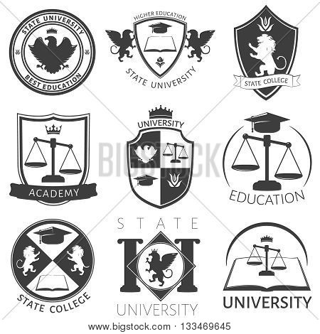 Heraldry of university black white emblems with academic cap lions manuals balance eagle crown isolated vector illustration