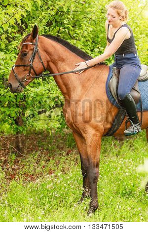 Active woman girl jockey training riding horse. Equitation sport competition and activity.