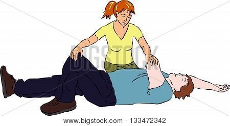 First aid - tumbling person in unconsciousness. Vector