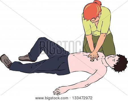 First aid - reanimation procedure. CPR cardiac massage for breathless man. Vector