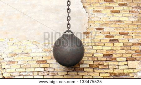 Metallic rusty wrecking ball on chain,with old brick wall background 3D rendering