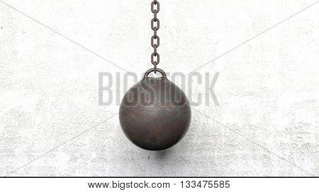 Metallic rusty wrecking ball on chain. 3D rendering