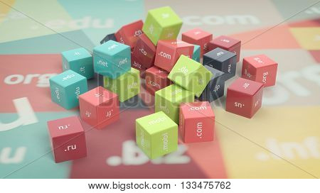 3D rendering of colorful cubes with domain names, abstract background