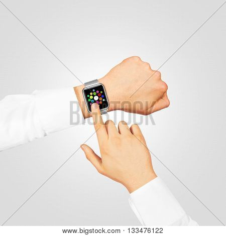 Smart watch menu screen mock up wear on the hand isolated on gray. Steel metallic hand time clock interface mockup grey metal band. Smartwatch appl design presentation app display template.