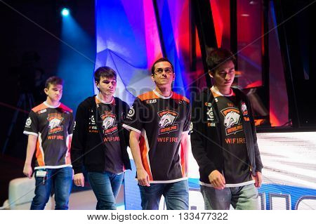 MOSCOW, RUSSIA - MAY 14 2016: EPICENTER MOSCOW Dota 2 cybersport event. Team Virtus Pro on the stage. Players yoky god nofear, alohadance