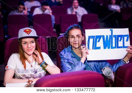 MOSCOW, RUSSIA - MAY 14 2016: EPICENTER MOSCOW Dota 2 cybersport event. Team newbee fans