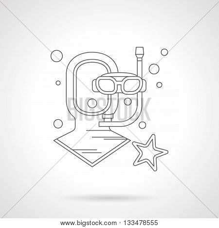 Neoprene diving helmet and mask with tube, bubbles and starfish. Outfit and wear for water sport, part of wetsuit. Single detailed flat line vector icon. Web design element.