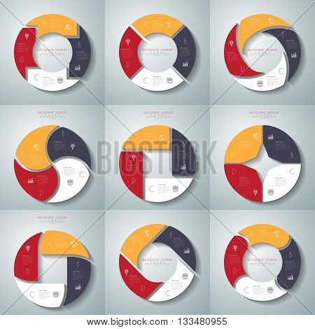 Vector Circle Arrows Infographics Set. Template For Diagram, Graph, Presentation And Chart. Business