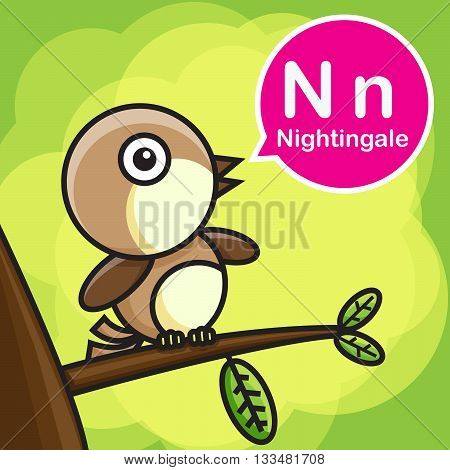 N Nightingale animal cartoon and alphabet for children to learning vector illustration eps10