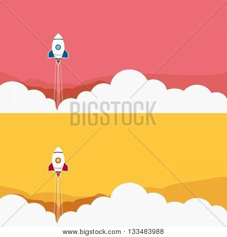 Big set of launching rocket background for business