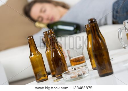 drunk young woman sleeping