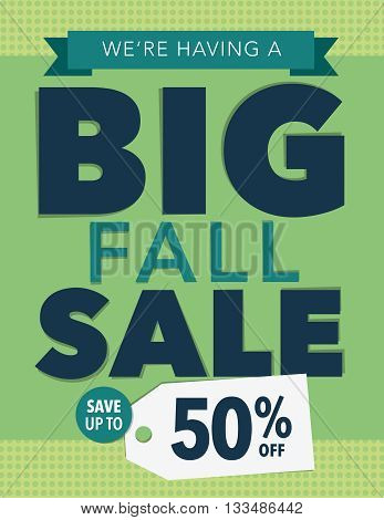 Big fall sale up to 50% off poster