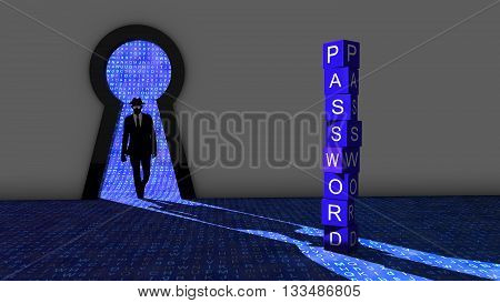 Elite hacker entering a room through a keyhole to steal passwords silhouette 3d illustration information security backdoor concept