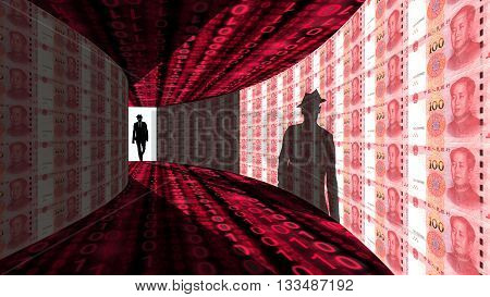 A silhouette of a hacker with a black hat in a suit enters a hallway with walls textured with Chinese RMB bills 3D illustration cybersecurity concept