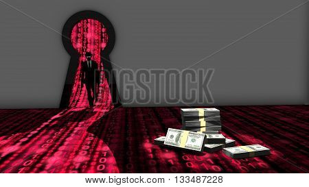 Elite hacker entering a room through a keyhole to steal money silhouette 3d illustration information security backdoor concept with red digital background matrix