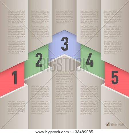 Infographics in paper style with colored numbered items from one to five