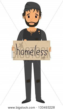 Homeless man in dirty old clothes whith tablet in hand. Vector flat cartoon illustration