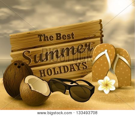 tropical vector background with summer sky and clouds wooden desk coconut flipflops and sunglasses on a sand beach monochrome