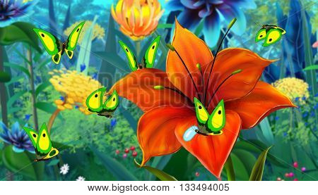 Green Butterfly Flew on a Flower. Digital painting cartoon style full color illustration.
