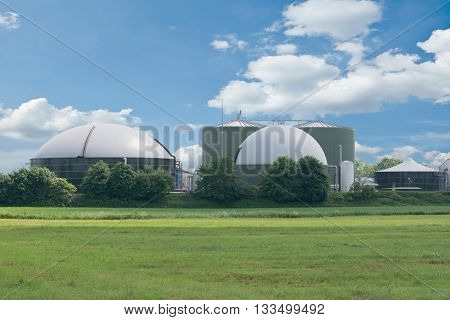 Schleswig Holstein, Germany, June 04, 2016: Biogas plant for power generation and energy on June 4th, 2016