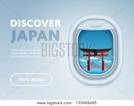Discover Japan. Traveling the world by plane. Tourism and vacation theme. Attraction of airplane window. Travel Japan concept with Japan landmarks vector. Adventure in Asia. Japan mountain Fuji. Famous Japan travel places. Explore Japan landmarks.
