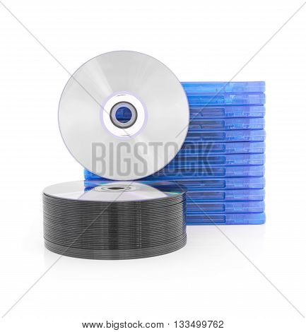 DVD box with disc on white background poster
