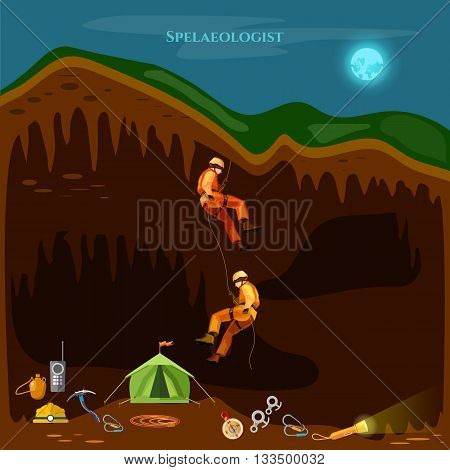 Professional cavers industrial climbing cave exploration vector illustration