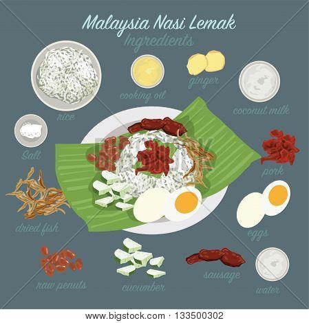 Malaysia food (Nasi Lemak) eps 10 format