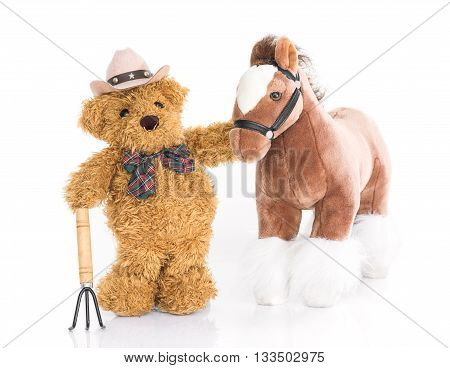 Teddy Bear .farmer With Pitchfork  And Horse