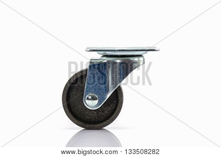 Industrial metal wheels or Caster steel wheels on white background.